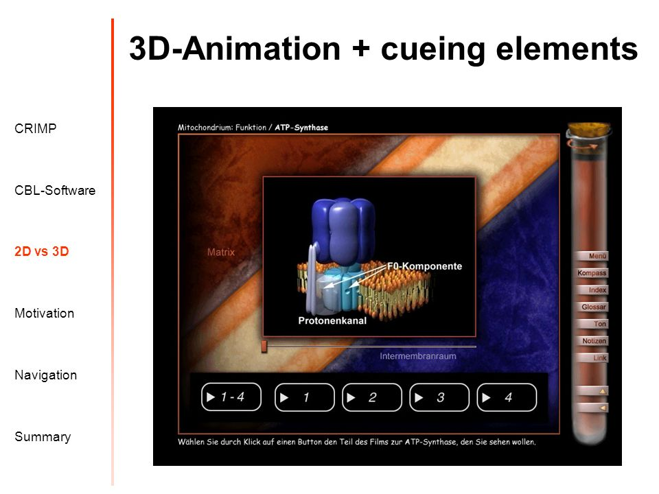 3D-Animation + cueing elements Motivation CRIMP 2D vs 3D CBL-Software Navigation Summary