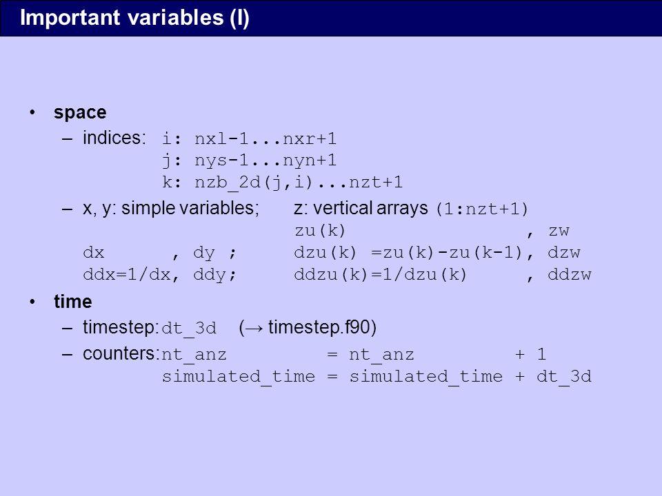 prognostic variables, pointers –u, v, w, pt, e, q (k,j,i) –each variable has three pointer arrays and three target arrays: u_m => u_1 ; u => u_2 ; u_p => u_3...