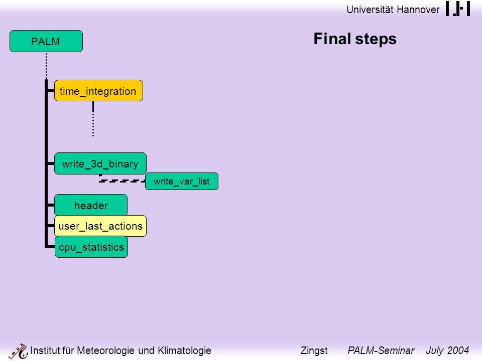 Universität Hannover Institut für Meteorologie und Klimatologie Zingst PALM-Seminar July 2004 Final steps PALM time_integration write_3d_binary write_var_list header user_last_actions cpu_statistics