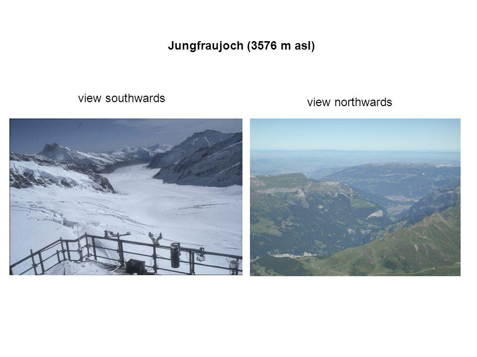Jungfraujoch (3576 m asl) view southwards view northwards