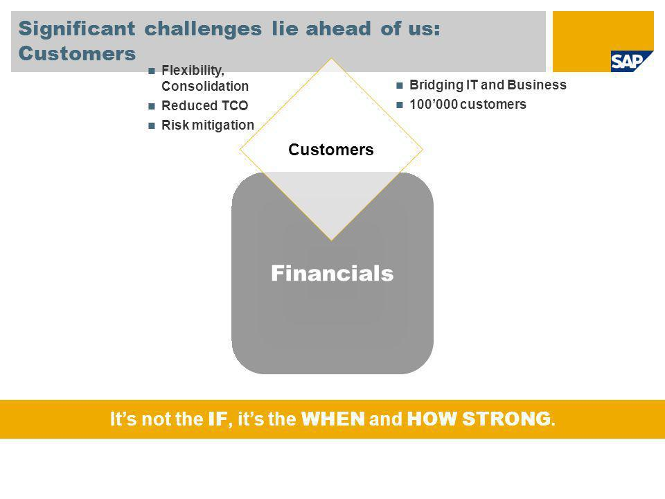 Financials Significant challenges lie ahead of us: Customers Customers Bridging IT and Business 100000 customers Flexibility, Consolidation Reduced TCO Risk mitigation Its not the IF, its the WHEN and HOW STRONG.