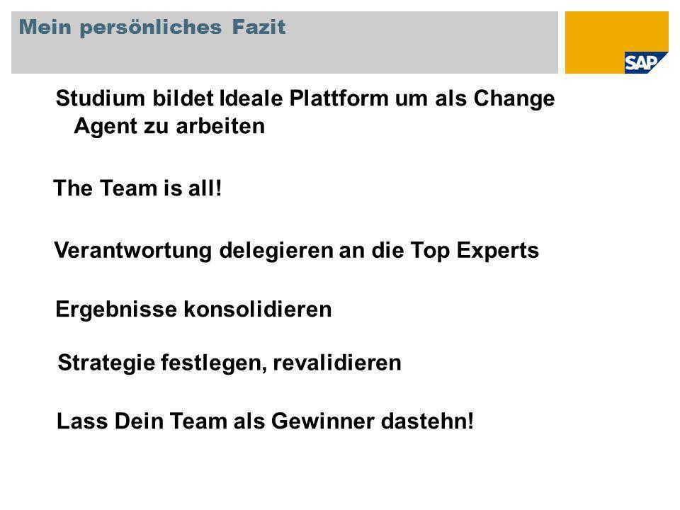 Mein persönliches Fazit Studium bildet Ideale Plattform um als Change Agent zu arbeiten The Team is all.