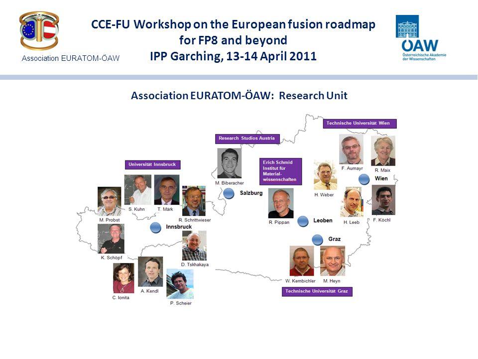 CCE-FU Workshop on the European fusion roadmap for FP8 and beyond IPP Garching, 13-14 April 2011 Association EURATOM-ÖAW: Major co-operations IPP Garching – ASDEX Upgrade IPP Garching – Greifswald CCFE (Culham) - JET KIT (Karlsruhe) Major co-operations on plasma theory: FZ Jülich Slovenian Fusion Association (MHEST) Danish Fusion Association (Risø) Association EURATOM-ÖAW