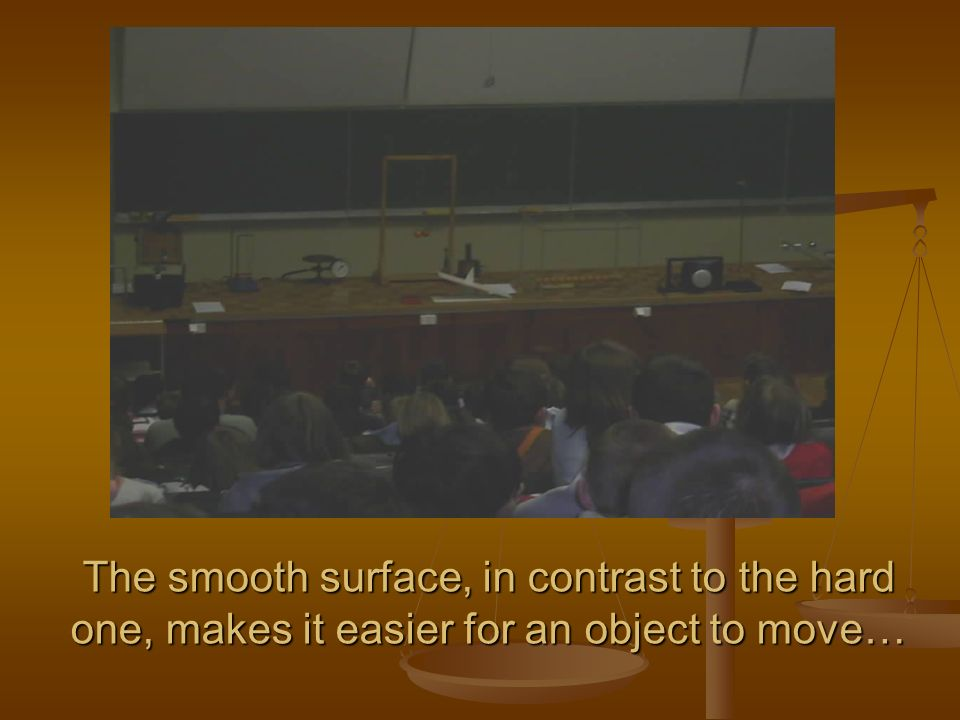The smooth surface, in contrast to the hard one, makes it easier for an object to move…