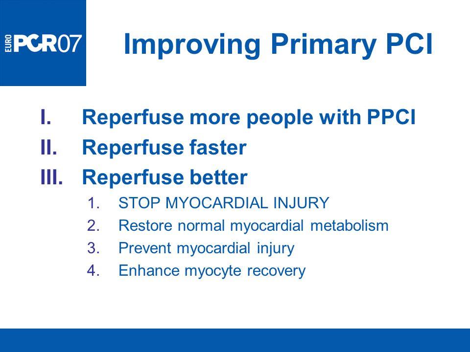 Improving Primary PCI I.Reperfuse more people with PPCI II.Reperfuse faster III.Reperfuse better 1.STOP MYOCARDIAL INJURY 2.Restore normal myocardial