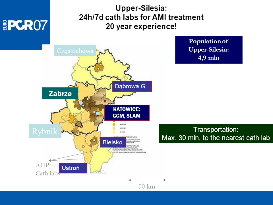 Upper-Silesia: 24h/7d cath labs for AMI treatment 20 year experience! Population of Upper-Silesia: 4,9 mln 50 km KATOWICE: GCM, SLAM Zabrze AHP: Cath