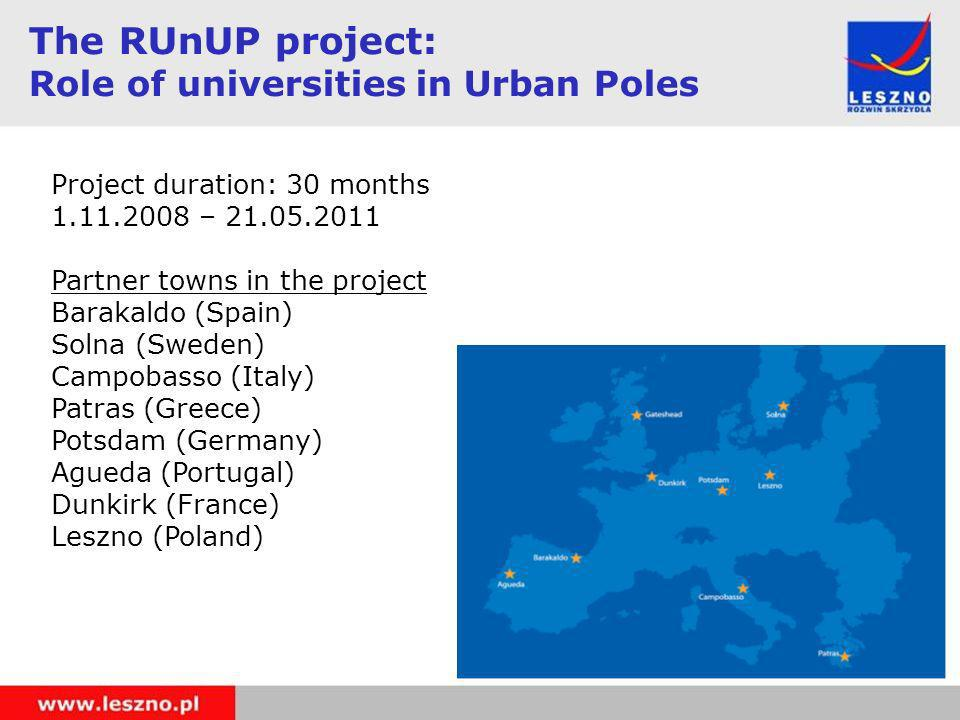 Project duration: 30 months 1.11.2008 – 21.05.2011 Partner towns in the project Barakaldo (Spain) Solna (Sweden) Campobasso (Italy) Patras (Greece) Potsdam (Germany) Agueda (Portugal) Dunkirk (France) Leszno (Poland) The RUnUP project: Role of universities in Urban Poles
