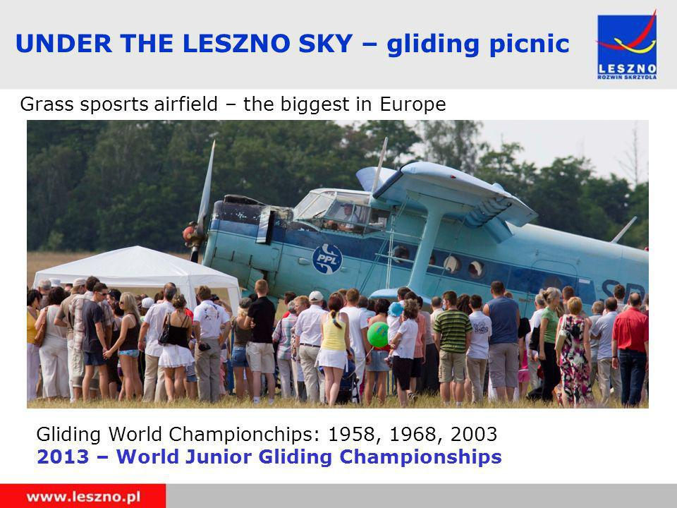 UNDER THE LESZNO SKY – gliding picnic Grass sposrts airfield – the biggest in Europe Gliding World Championchips: 1958, 1968, 2003 2013 – World Junior Gliding Championships