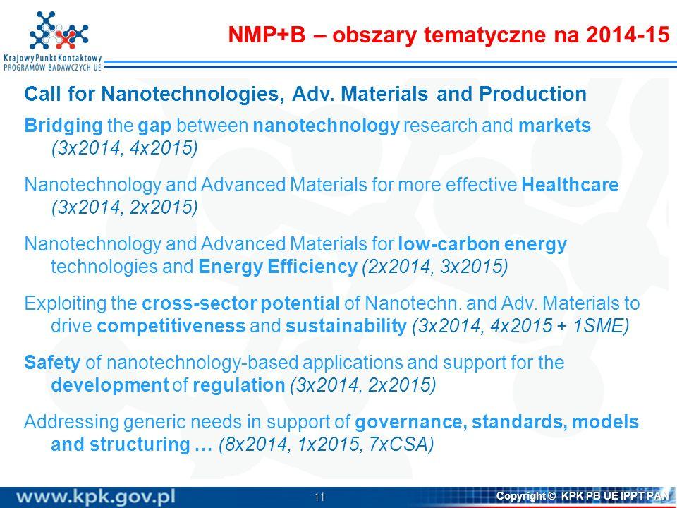 11 Copyright © KPK PB UE IPPT PAN Call for Nanotechnologies, Adv. Materials and Production Bridging the gap between nanotechnology research and market