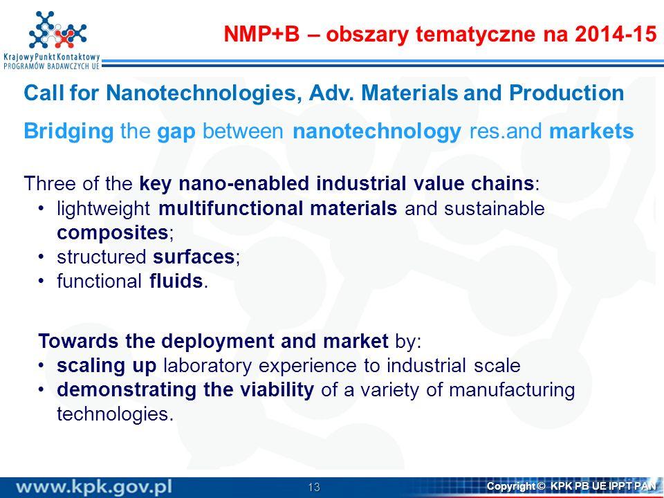 13 Copyright © KPK PB UE IPPT PAN Call for Nanotechnologies, Adv. Materials and Production Bridging the gap between nanotechnology res.and markets Thr