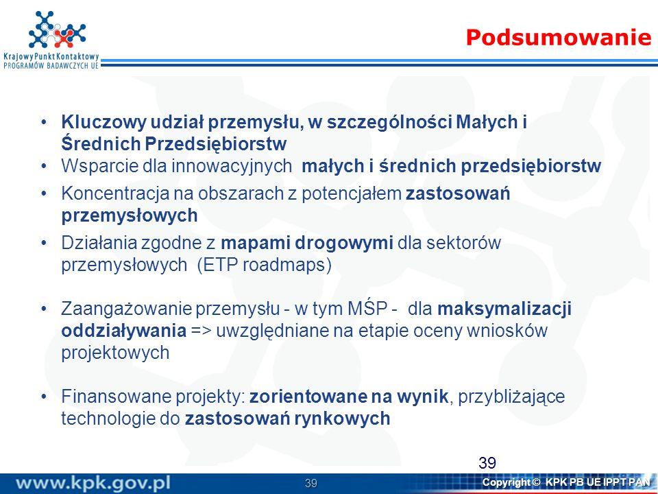 39 Copyright © KPK PB UE IPPT PAN Kluczowy udział przemysłu, w szczególności Małych i Średnich Przedsiębiorstw Wsparcie dla innowacyjnych małych i śre