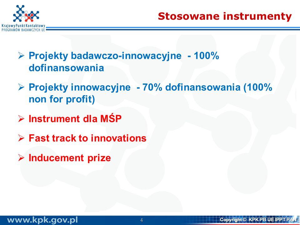 4 Copyright © KPK PB UE IPPT PAN Stosowane instrumenty Projekty badawczo-innowacyjne - 100% dofinansowania Projekty innowacyjne - 70% dofinansowania (