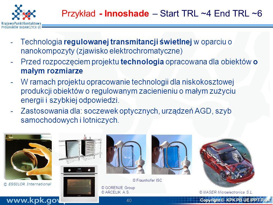 40 Copyright © KPK PB UE IPPT PAN - Technologia regulowanej transmitancji świetlnej w oparciu o nanokompozyty (zjawisko elektrochromatyczne) -Przed ro