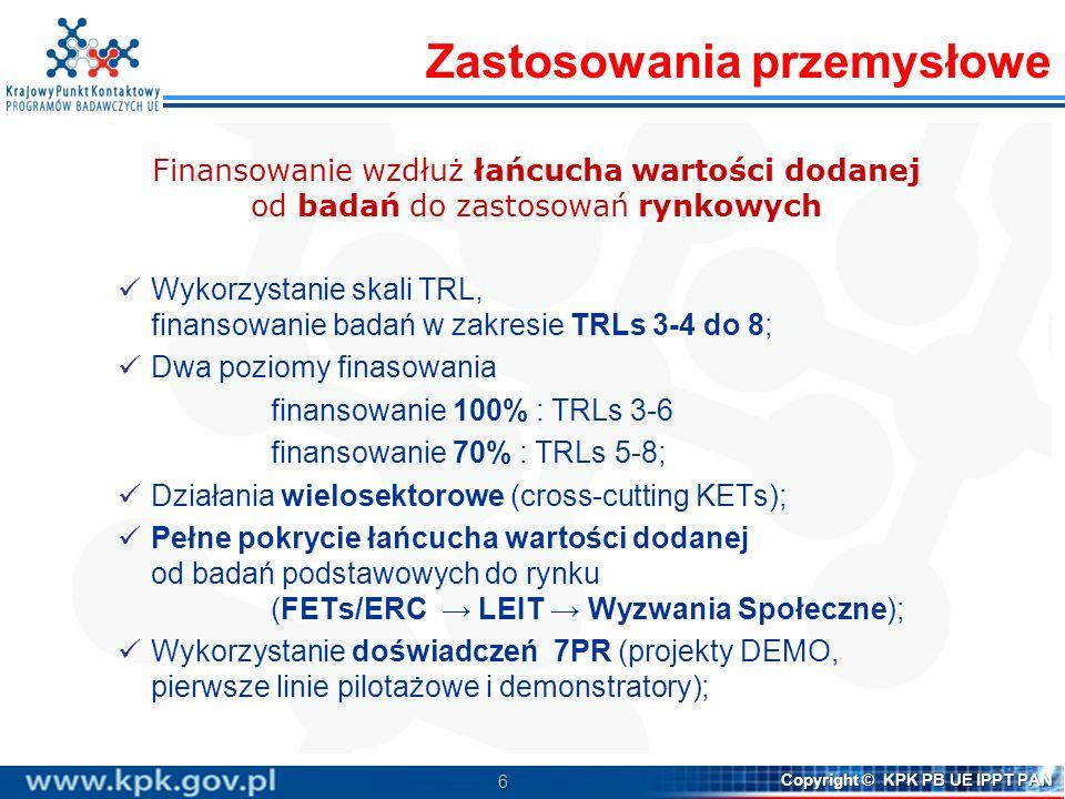 6 Copyright © KPK PB UE IPPT PAN Finansowanie wzdłuż łańcucha wartości dodanej od badań do zastosowań rynkowych Wykorzystanie skali TRL, finansowanie