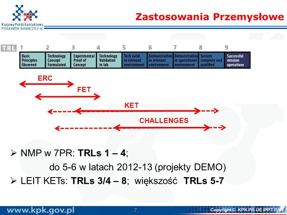 7 Copyright © KPK PB UE IPPT PAN NMP w 7PR: TRLs 1 – 4; do 5-6 w latach 2012-13 (projekty DEMO) LEIT KETs: TRLs 3/4 – 8; większość TRLs 5-7 Zastosowan