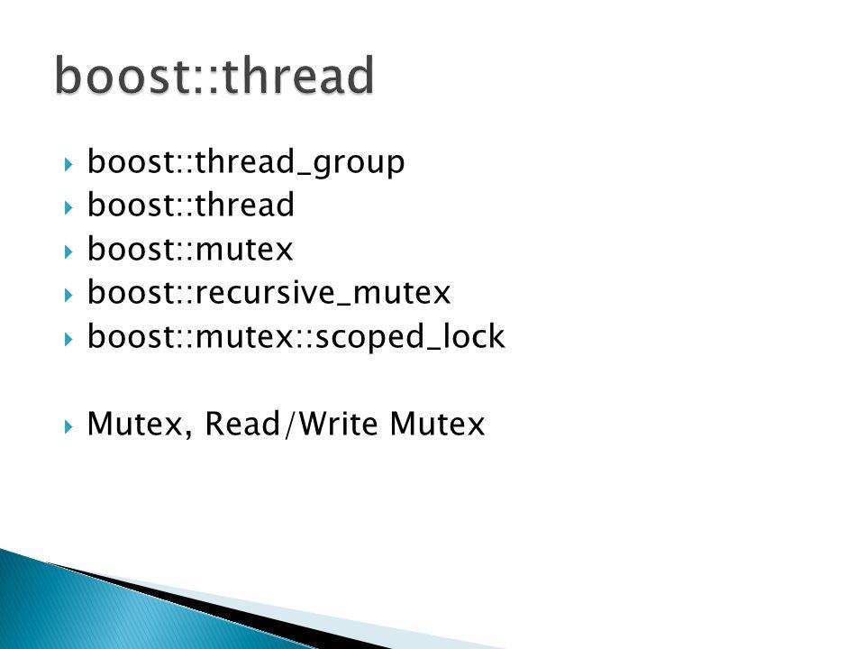 boost::thread_group boost::thread boost::mutex boost::recursive_mutex boost::mutex::scoped_lock Mutex, Read/Write Mutex