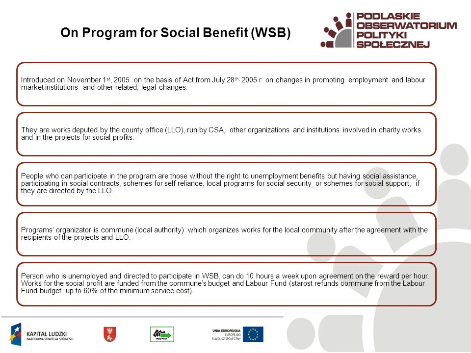 On Program for Social Benefit (WSB) Introduced on November 1 st, 2005 on the basis of Act from July 28 th, 2005 r.