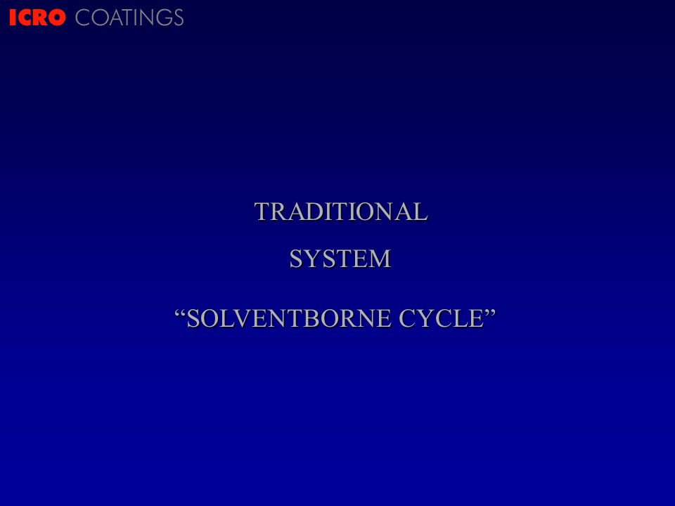 ICRO COATINGSTRADITIONALSYSTEM SOLVENTBORNE CYCLE