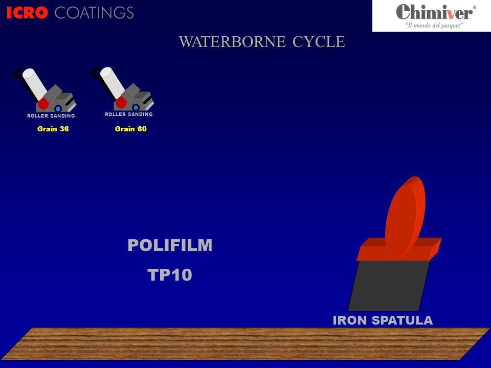 ICRO COATINGS POLIFILM TP10 ROLLER SANDING Grain 36 ROLLER SANDING Grain 60 IRON SPATULA WATERBORNE CYCLE