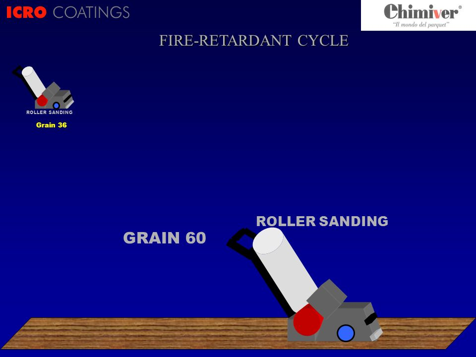 ICRO COATINGS ROLLER SANDING GRAIN 60 ROLLER SANDING Grain 36 FIRE-RETARDANT CYCLE