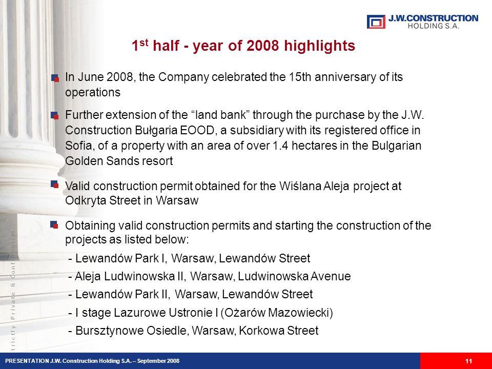 S t r i c t l y P r i v a t e & C o n f i d e n t i a l 11 - - Lewandów Park I, Warsaw, Lewandów Street - Aleja Ludwinowska II, Warsaw, Ludwinowska Avenue - Lewandów Park II, Warsaw, Lewandów Street - I stage Lazurowe Ustronie I (Ożarów Mazowiecki) - Bursztynowe Osiedle, Warsaw, Korkowa Street In June 2008, the Company celebrated the 15th anniversary of its operations Further extension of the land bank through the purchase by the J.W.
