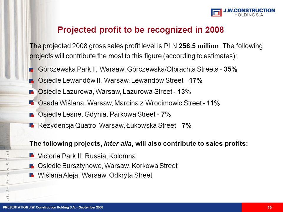 S t r i c t l y P r i v a t e & C o n f i d e n t i a l Projected profit to be recognized in 2008 15 Górczewska Park II, Warsaw, Górczewska/Olbrachta Streets - 35% Osiedle Lewandów II, Warsaw, Lewandów Street - 17% Osiedle Lazurowa, Warsaw, Lazurowa Street - 13% Osada Wiślana, Warsaw, Marcina z Wrocimowic Street - 11% Osiedle Leśne, Gdynia, Parkowa Street - 7% Rezydencja Quatro, Warsaw, Łukowska Street - 7% The projected 2008 gross sales profit level is PLN 256.5 million.