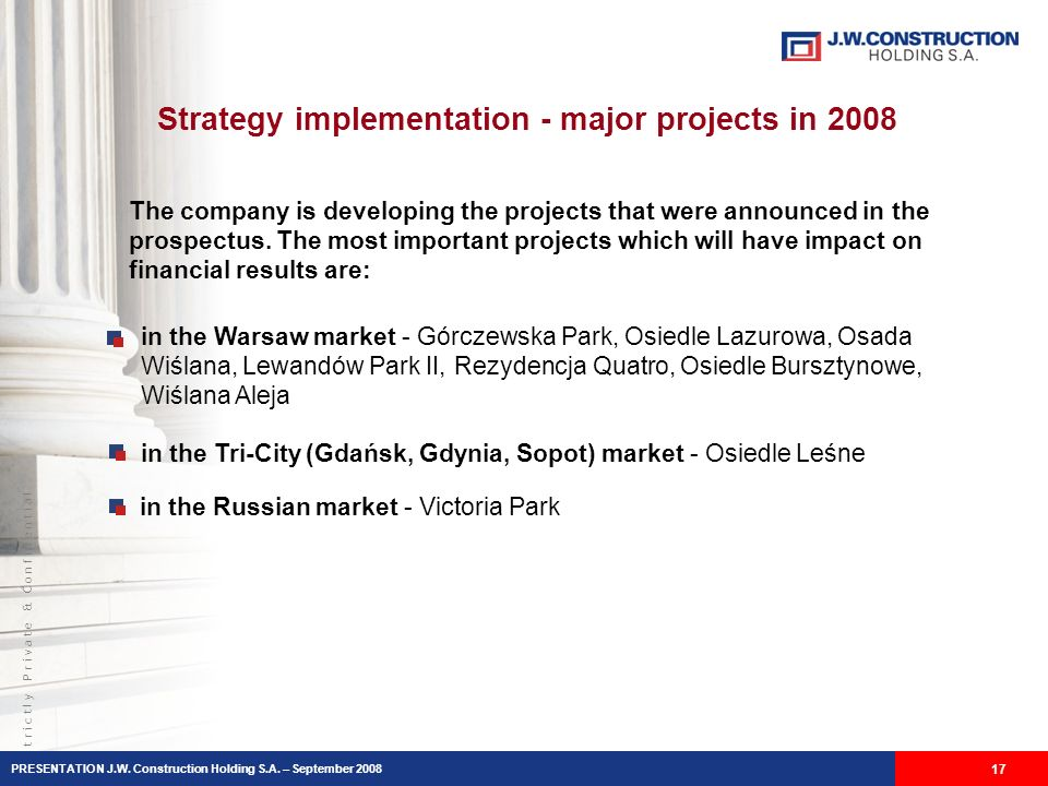 S t r i c t l y P r i v a t e & C o n f i d e n t i a l Strategy implementation - major projects in 2008 The company is developing the projects that w