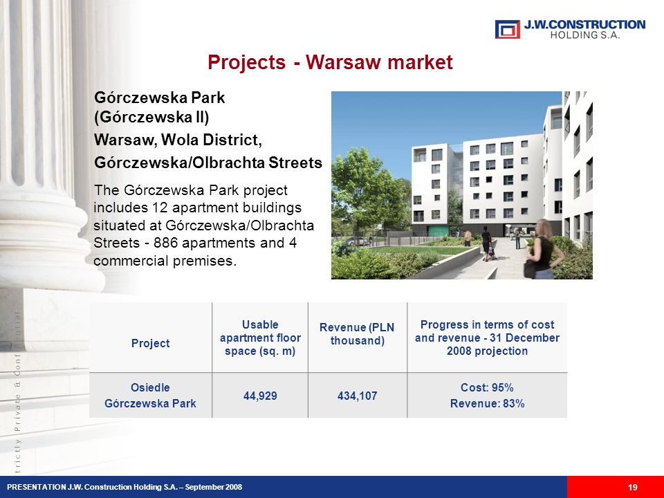 S t r i c t l y P r i v a t e & C o n f i d e n t i a l Projects - Warsaw market 19 Górczewska Park (Górczewska II) Warsaw, Wola District, Górczewska/Olbrachta Streets The Górczewska Park project includes 12 apartment buildings situated at Górczewska/Olbrachta Streets - 886 apartments and 4 commercial premises.