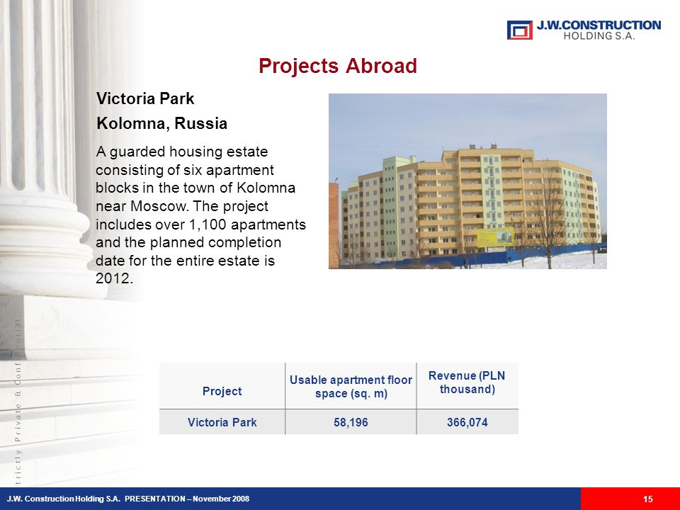 S t r i c t l y P r i v a t e & C o n f i d e n t i a l Projects Abroad 15 Victoria Park Kolomna, Russia A guarded housing estate consisting of six apartment blocks in the town of Kolomna near Moscow.