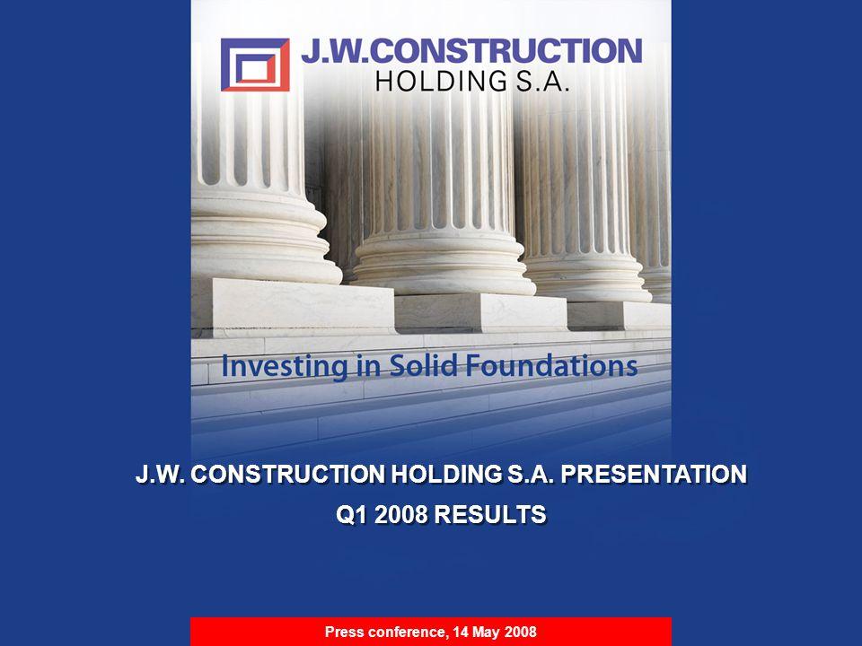 S t r i c t l y P r i v a t e & C o n f i d e n t i a l J.W. CONSTRUCTION HOLDING S.A. PRESENTATION Q1 2008 RESULTS J.W. CONSTRUCTION HOLDING S.A. PRE