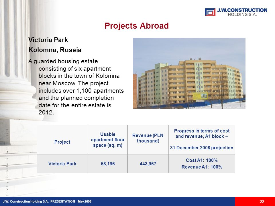 S t r i c t l y P r i v a t e & C o n f i d e n t i a l Projects Abroad 22 Victoria Park Kolomna, Russia A guarded housing estate consisting of six apartment blocks in the town of Kolomna near Moscow.