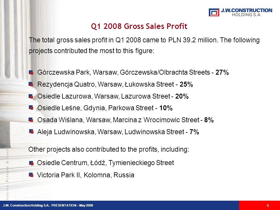 S t r i c t l y P r i v a t e & C o n f i d e n t i a l Q1 2008 Gross Sales Profit 5 Górczewska Park, Warsaw, Górczewska/Olbrachta Streets - 27% Rezyd