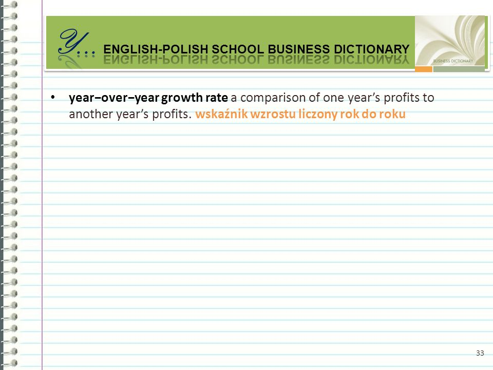 yearoveryear growth rate a comparison of one years profits to another years profits.