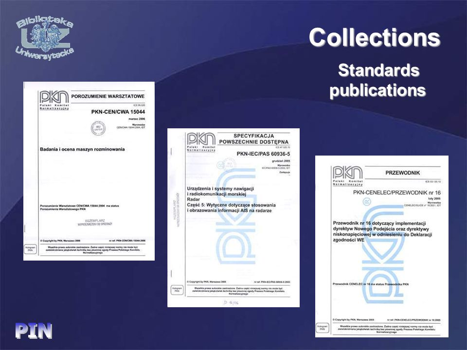 Standards publications publications Collections