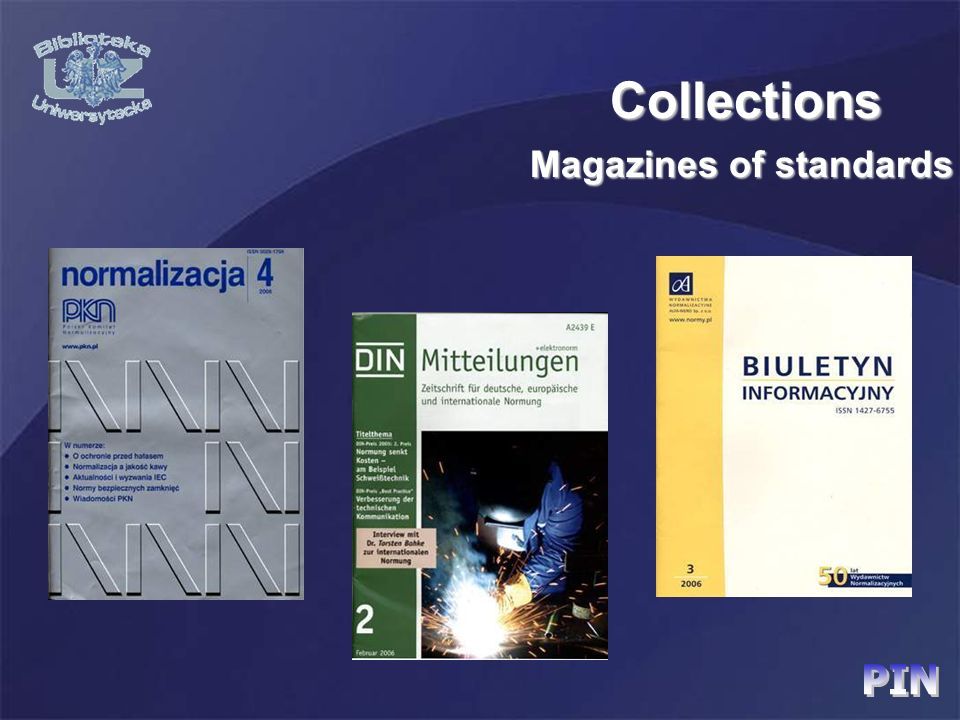 Magazines of standards Collections