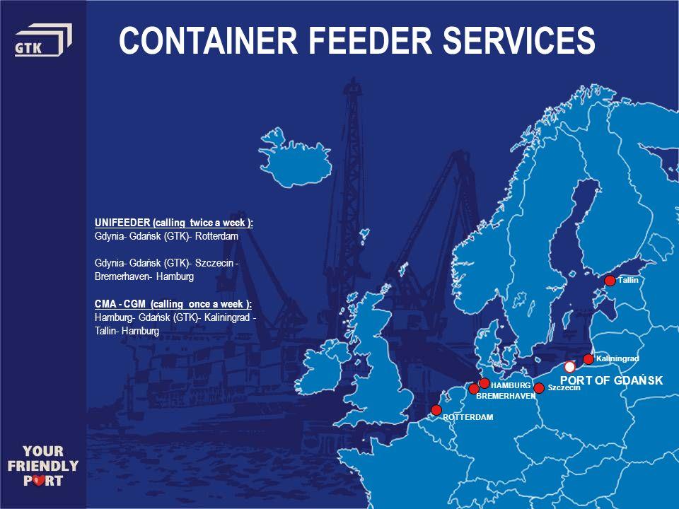 PORT OF GDAŃSK CONTAINER FEEDER SERVICES UNIFEEDER (calling twice a week ): Gdynia- Gdańsk (GTK)- Rotterdam Gdynia- Gdańsk (GTK)- Szczecin - Bremerhav