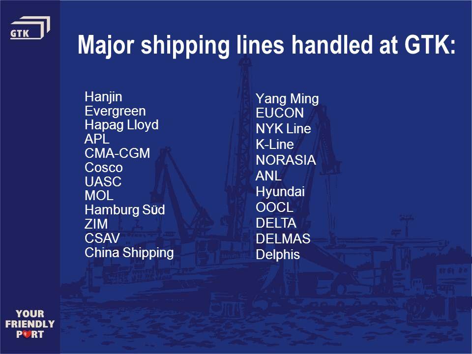 Major shipping lines handled at GTK: Hanjin Evergreen Hapag Lloyd APL CMA-CGM Cosco UASC MOL Hamburg S Ü d ZIM CSAV China Shipping Yang Ming EUCON NYK