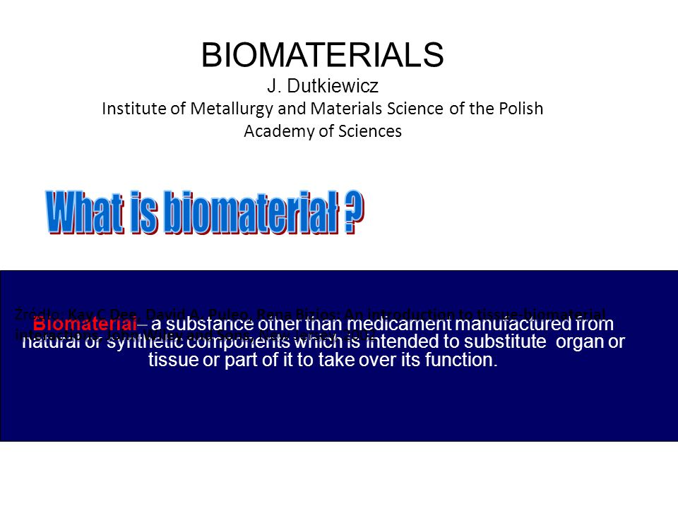 Biomaterial– a substance other than medicament manufactured from natural or synthetic components which is intended to substitute organ or tissue or pa