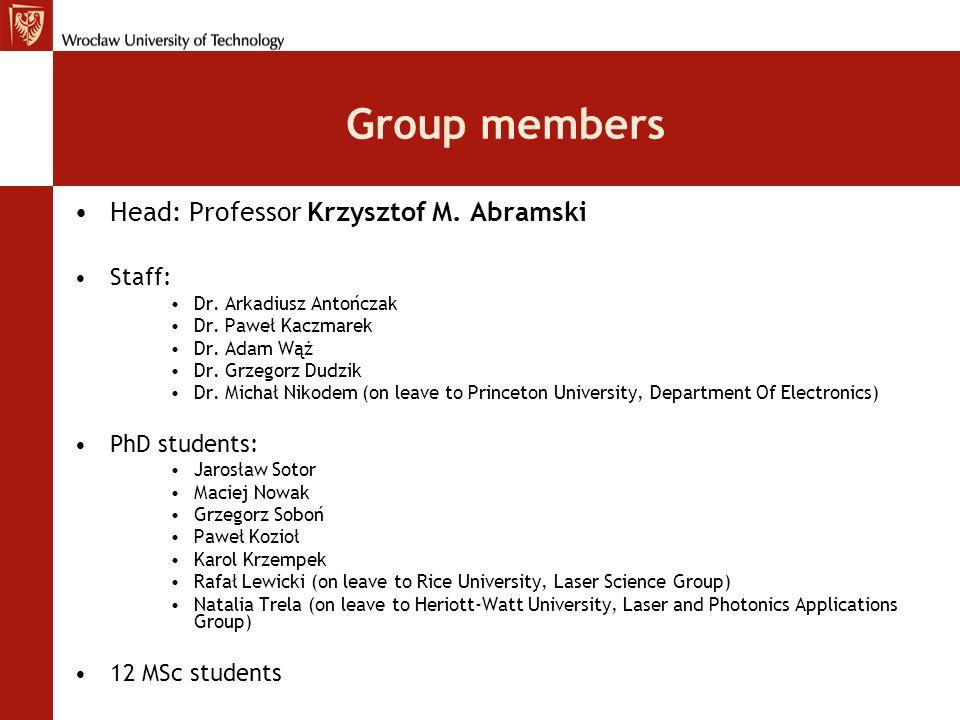 Group members Head: Professor Krzysztof M. Abramski Staff: Dr. Arkadiusz Antończak Dr. Paweł Kaczmarek Dr. Adam Wąż Dr. Grzegorz Dudzik Dr. Michał Nik