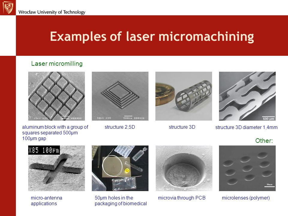 Examples of laser micromachining aluminum block with a group of squares separated 500μm 100μm gap Laser micromilling structure 2,5Dstructure 3D struct