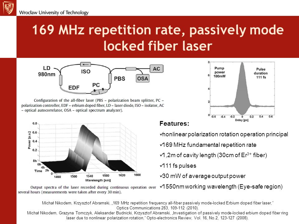 169 MHz repetition rate, passively mode locked fiber laser Features: nonlinear polarization rotation operation principal 169 MHz fundamental repetitio