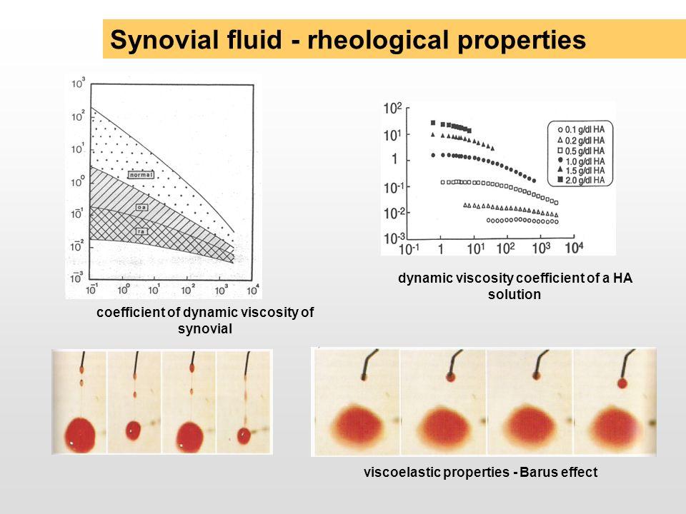 Synovial fluid - rheological properties dynamic viscosity coefficient of a HA solution coefficient of dynamic viscosity of synovial viscoelastic prope