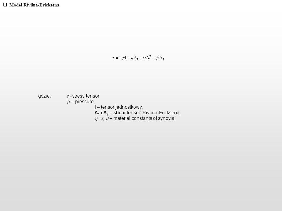 Model Rivlina-Ericksena gdzie: –stress tensor p – pressure I – tensor jednostkowy, A 1 i A 2 – shear tensor Rivlina-Ericksena,,, – material constants