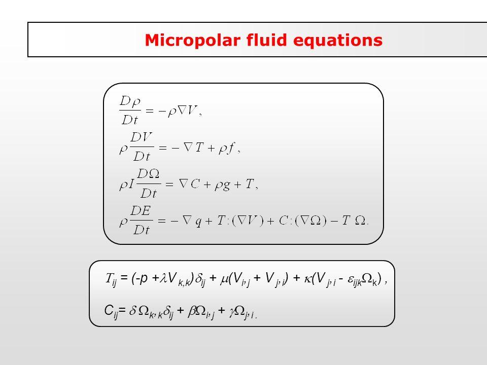 ij = (-p + V k,k ) ij + (V i, j + V j, i ) + (V j, i - ijk k ), C ij = k, k ij + i, j + j, i. Micropolar fluid equations