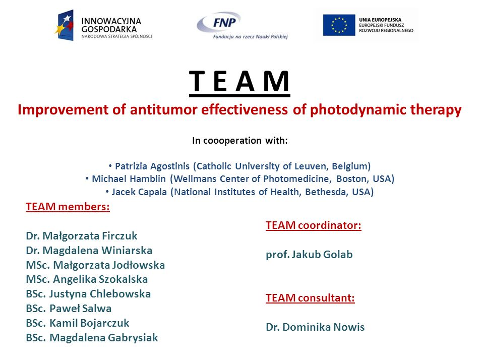 T E A M Improvement of antitumor effectiveness of photodynamic therapy In coooperation with: Patrizia Agostinis (Catholic University of Leuven, Belgium) Michael Hamblin (Wellmans Center of Photomedicine, Boston, USA) Jacek Capala (National Institutes of Health, Bethesda, USA) TEAM members: Dr.
