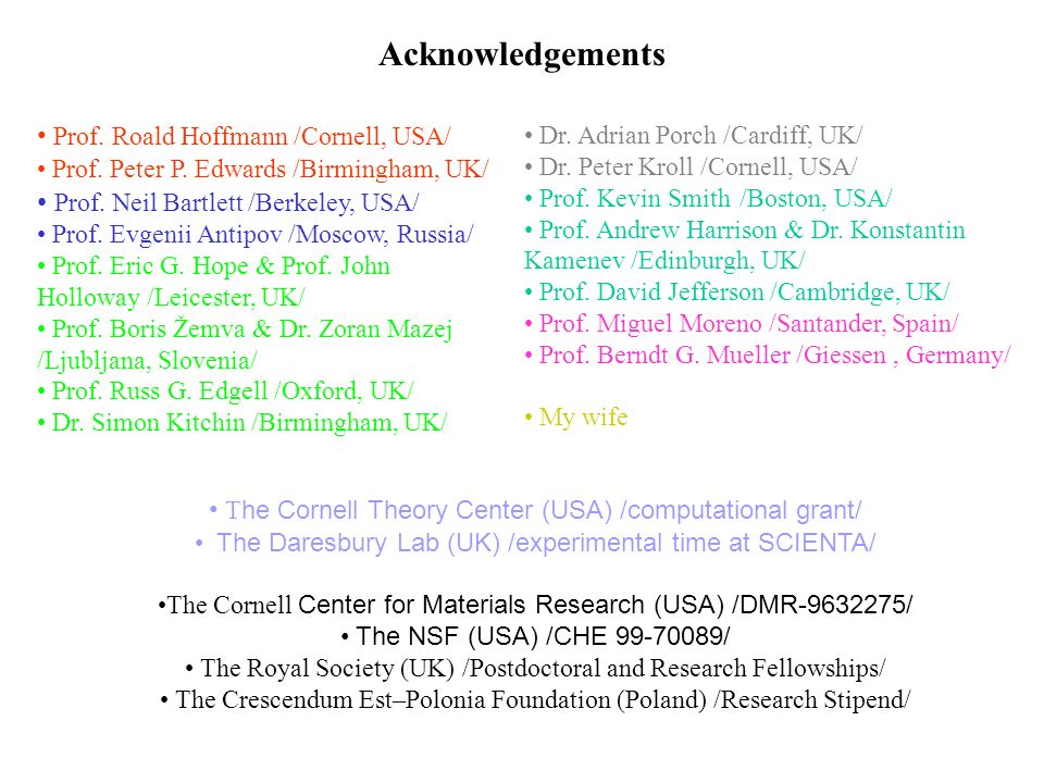 Acknowledgements T he Cornell Theory Center (USA) /computational grant/ The Daresbury Lab (UK) /experimental time at SCIENTA/ The Cornell Center for Materials Research (USA) /DMR / The NSF (USA) /CHE / The Royal Society (UK) /Postdoctoral and Research Fellowships/ The Crescendum Est–Polonia Foundation (Poland) /Research Stipend/ Prof.