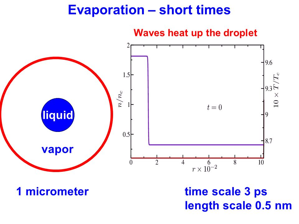 1 micrometertime scale 3 ps length scale 0.5 nm liquid vapor Evaporation – short times Waves heat up the droplet
