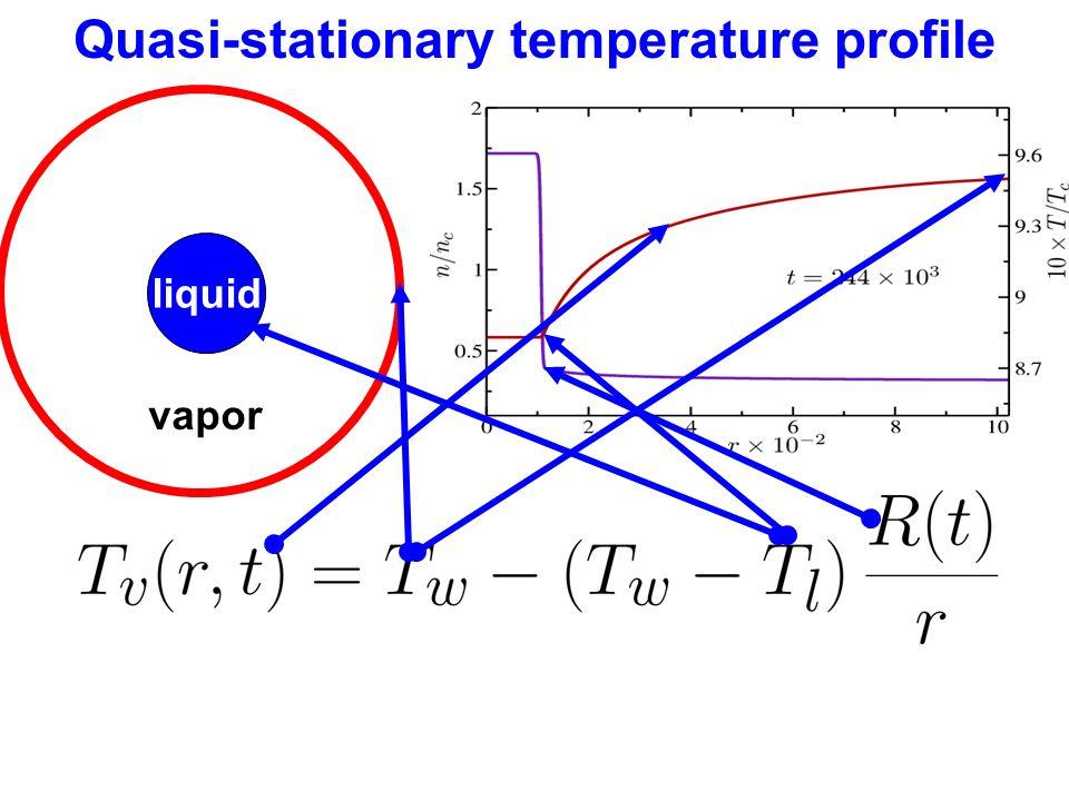 Quasi-stationary temperature profile liquid vapor