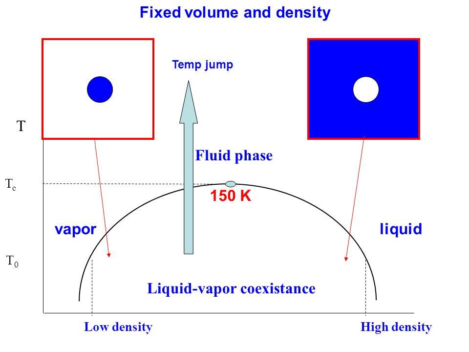 TcTc T0T0 T Low density High density Fluid phase Liquid-vapor coexistance vaporliquid 150 K Fixed volume and density Temp jump