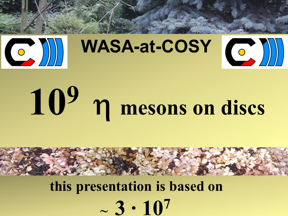 WASA-at-COSY 10 9 mesons on discs this presentation is based on ~ 3 · 10 7